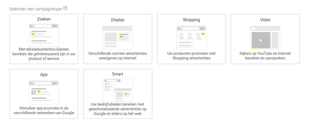 Google Ads campagnetype kiezen